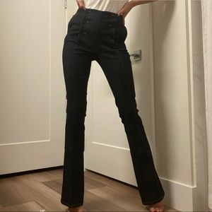 RED VALENTINO High Waisted Button Flare Denim Jean